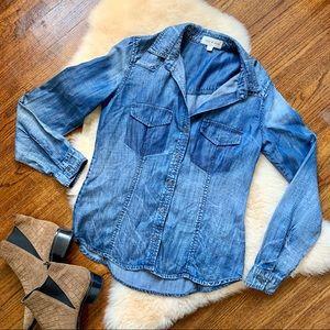 Cloth & Stone Denim Button down Blouse chambray XS
